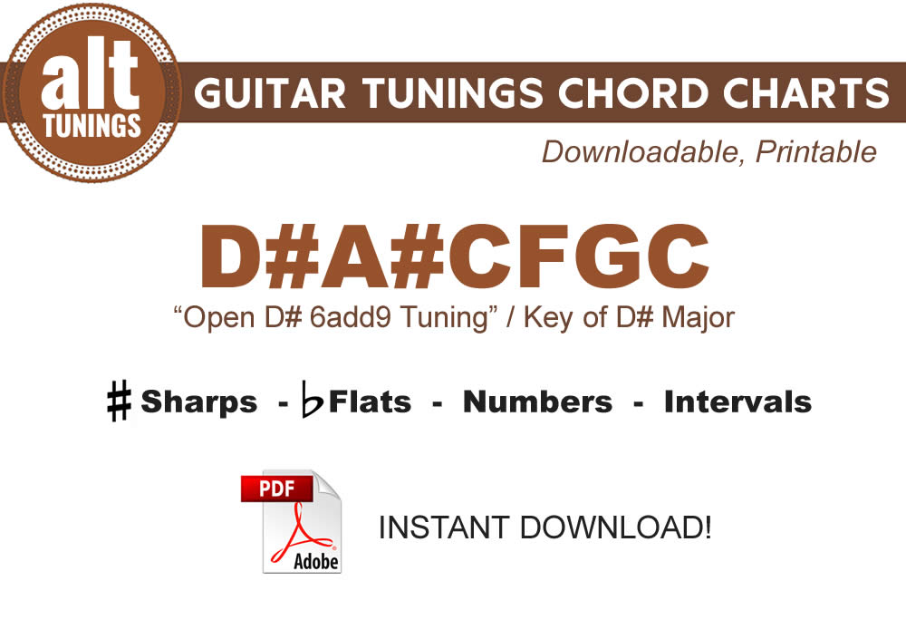 Guitar Tunings Chord Charts – D#A#CFGC - Alt Tunings